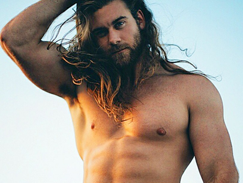 man muscles long hair
