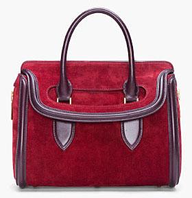 maroon suede handbag