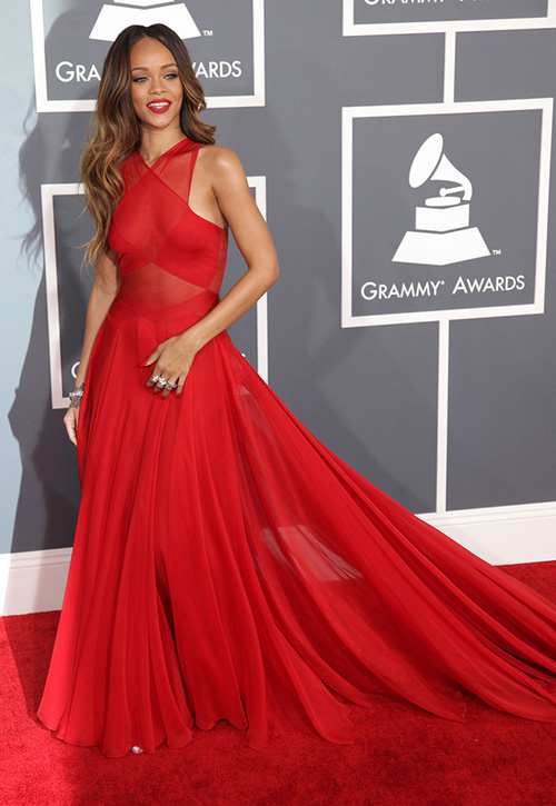 Azzedine Alaia Red Dress Rihanna in Azzedine Alaia at