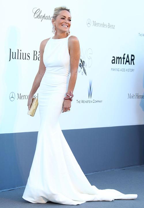 Sharon Stone at the amfAR Gala in Roberto Cavalli