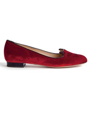 Charlotte Olympia red velvet slippers
