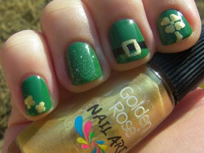 green, gold, mani